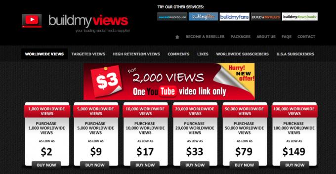 Trang web này quảng cáo thổi 2.000 view với giá chỉ 3 USD.