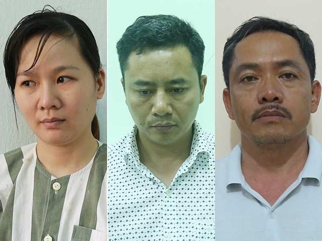 Trần Thị Đào và các đồng phạm tại cơ quan công an. (Ảnh do công an cung cấp)