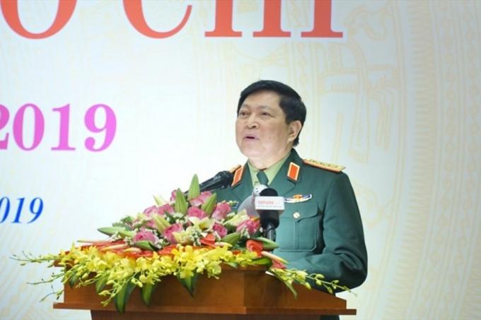 Đại tướng Ngô Xuân Lịch phát biểu tại buổi gặp mặt.