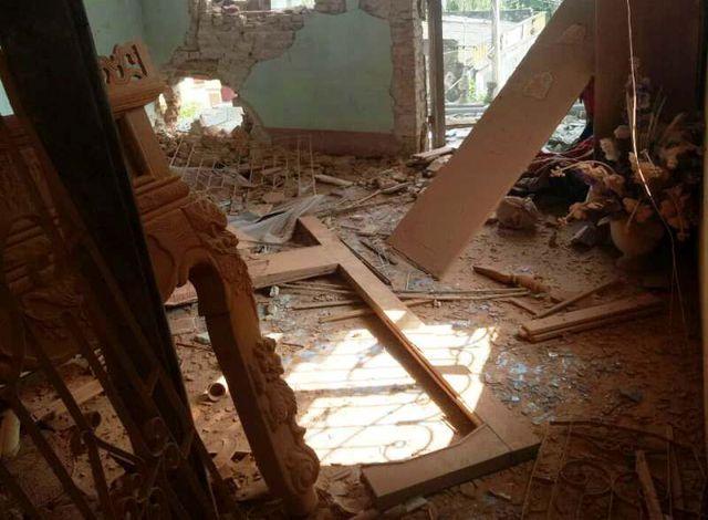 Căn phòng gần hiện trường vụ nổ bị tàn phá tanh bành.