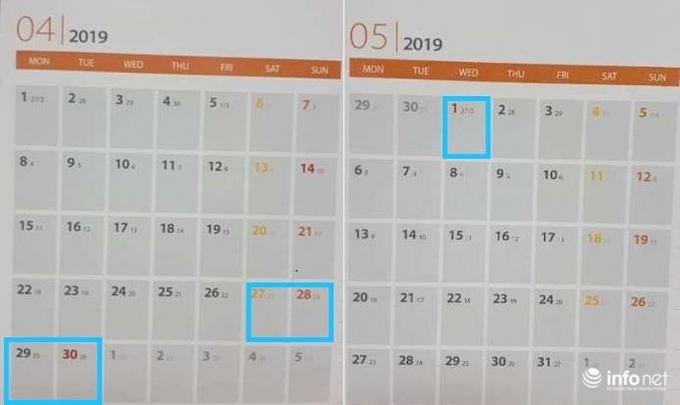 Ngày Giải phóng miền Nam (30/4) và Quốc tế lao động (1/5) năm 2019; cán bộ công chức, viên chức sẽ nghỉ 5 ngày liên tục.