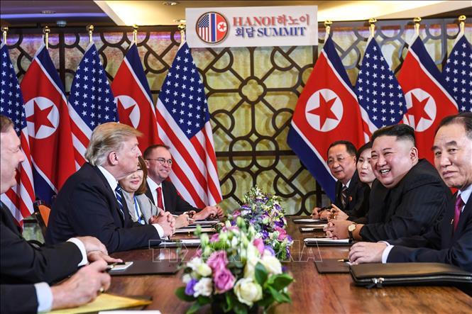 Hội đàm giữa Tổng thống Mỹ Donald Trump và Chủ tịch Triều Tiên Kim Jong-un tại Hà Nội (Việt Nam) ngày 28/2/2019. Ảnh: TTXVN