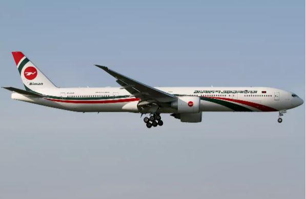 Máy bay Boeing 777-300 củacủa hãng Biman Airlines. Ảnh: Getty