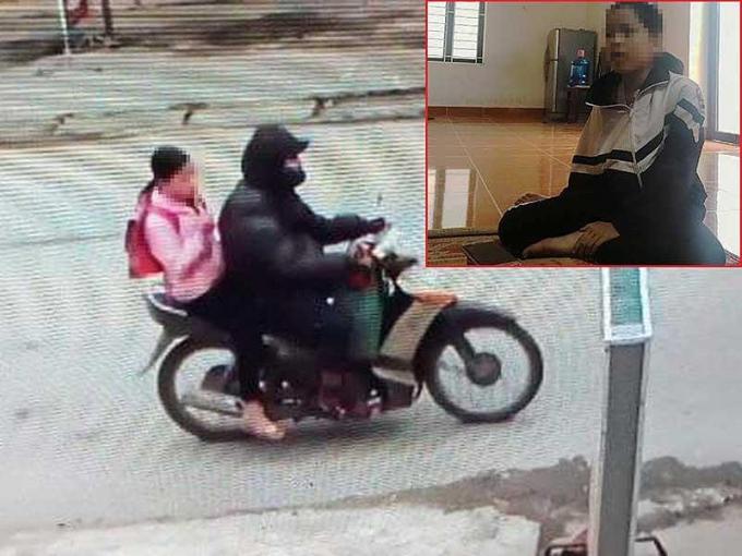Bé VNQ (ảnh nhỏ) và bị canNguyễn Trọng Trìnhchở đi bằng xe máy rồi xâm hại tình dục.