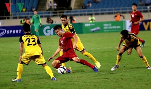 U23 Việt Nam hoàn toàn áp đảo trước U23 Brunei. (Ảnh: CTV Hồng Ngọc).