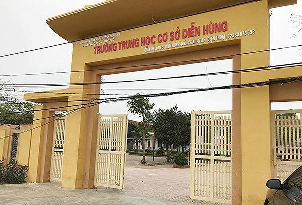 Trường THCS Diễn Hùng nơi các nữ sinh trong clip đang theo học