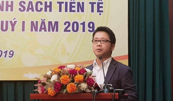 Ông Nghiêm Thanh Sơn, Phó Vụ trưởng Vụ Thanh toán, NHNN tại buổi họp báo hôm 1/4