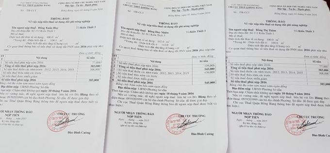 Từ năm 1987 đến khi bị thu hồi đất gia đình ông Đồng Duy Nhiên vẫn thực hiện việc đóng thuế đất phi nông nghiệp hằng năm cho Chi cục Thuế Q.Hồng Bàng
