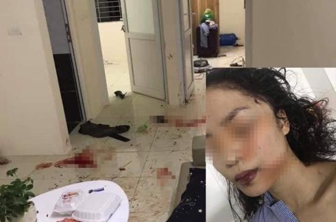 Hiện trường vụ việc và những thương tích trên mặt của cô gái.