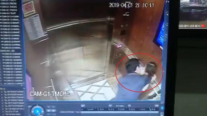 Nguyễn Hữu Linh dâm ô bé gái trong thang máy. Ảnh cắt từ clip.