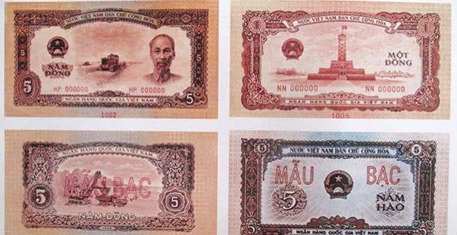 Một số mẫu tiền giấy do họa sĩ Bùi Trang Chước sáng tác