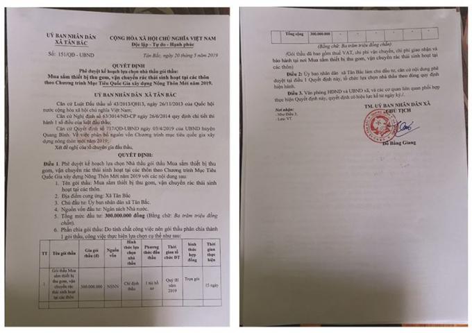 Quyết định phê duyệt kế hoạch lựa chọn nhà thầu, gói thầu của UBND xã Tân Bắc.