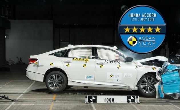 Honda Accord hoàn toàn mới nhận đạt được đánh giá 5 sao với tổng điểm 91,79 trên 100 điểm trong các bài thử nghiệm va chạm củaASEAN NCAP.