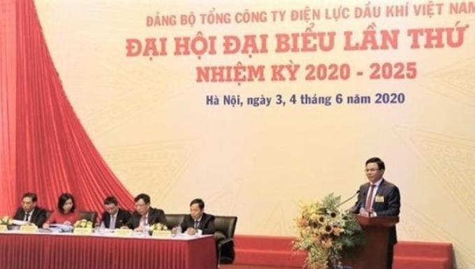 Ông Hồ Công Kỳ - Bí thư Đảng ủy, Chủ tịch HĐQT PV Power phát biểu tại Đại hội.