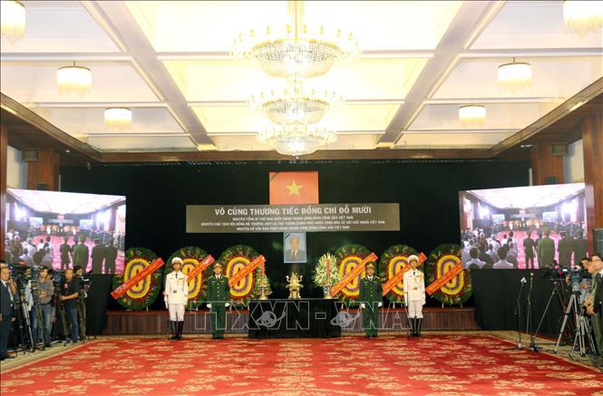 Quang cảnh Lễ truy điệu nguyên Tổng Bí thư Đỗ Mười tại Hội trường Thống Nhất, Tp. Hồ Chí Minh.