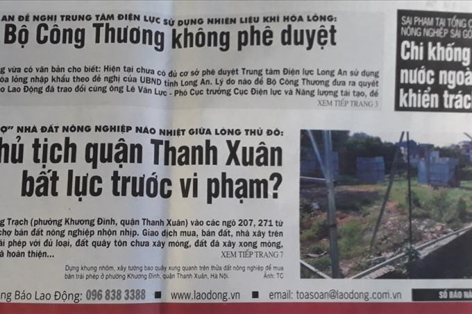 Báo Lao Động đã đăng tải loạt bài điều tra về việc xây dựng trái phép trên đất nông nghiệp tràn lan ở phường Khương Đình, Thanh Xuân, Hà Nội. Ảnh: TC.