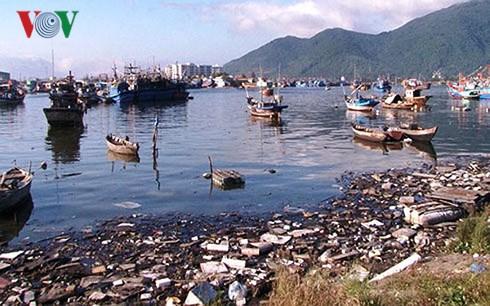 Rác thải tràn ngập âu thuyền Thọ Quang.