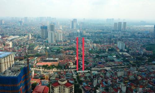 Dự án đường Đầm Hồng - Giáp Bát chạy qua đường Giải Phóng nối với đường Kim Đồng, nơi dự kiến làm hầm chui đến nay chưa được giải phóng mặt bằng. Ảnh:Phạm Hùng.