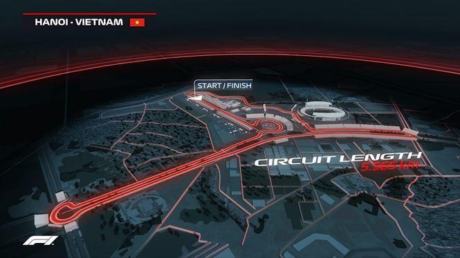 Đường đua Mỹ Đình có tổng chiều dài 5,5 km.  Chiều 7/11, UBND thành phố Hà Nội họp báo công bố giải đua xe công thức 1 (Formula One - F1). Ông Tô Văn Động - Giám đốc Sở Văn hóa Thể thao Hà Nội thông tin: Hà Nội là thành phố thứ 22 trên thế giới đăng cai tổ chức giải đua này và nơi thứ ba đua trên đường phố, sau Monaco và Singapore.