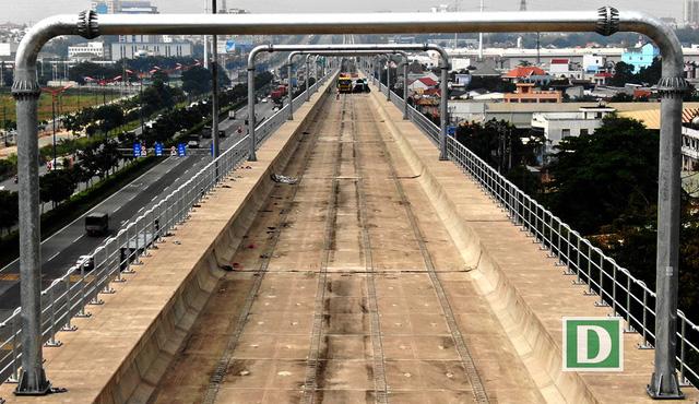Gói thầu số 2 bao gồm 17,1km đi trên cao và Depot Long Bình đã đạt khối lượng thi công 77,5%.