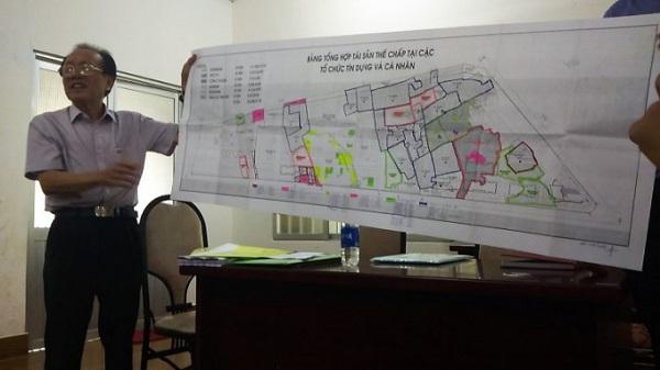 Bản đồ, Các vùng đỏ là nơi công ty Ô cấp đã thế chấp cho ngân hàng.