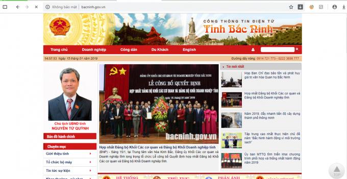 Website Cổng thông tin điện tử tỉnh Bắc Ninh.