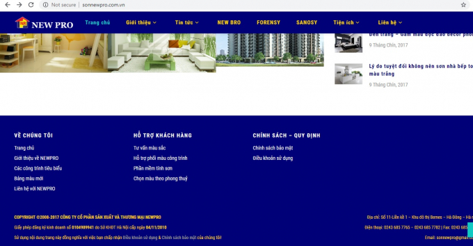 Thông tin trùng khớp về địa chỉ Công ty CP Sơn Alo và Công ty NEWPRO.