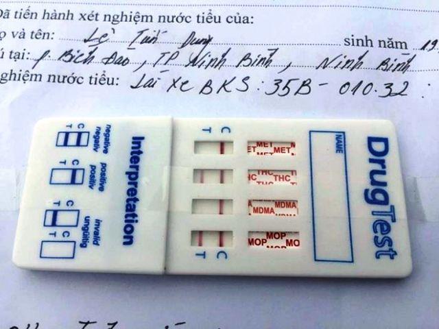 Kết quả kiểm tra chất ma túy của tài xế Dũng.
