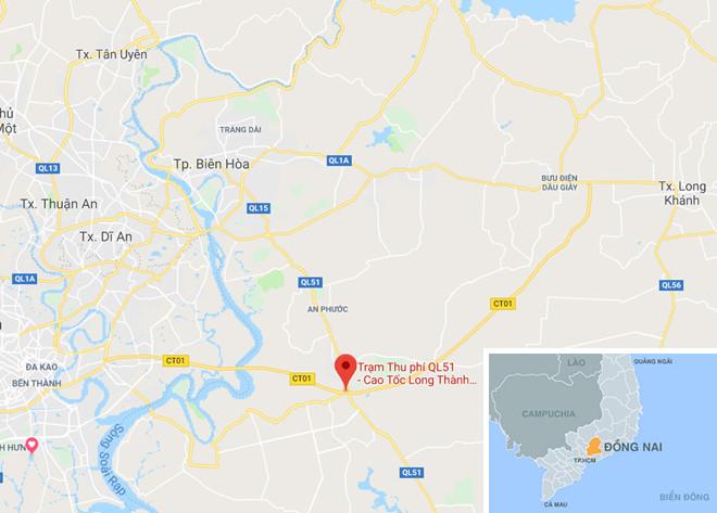 Trạm thu phí đường cao tốc TP.HCM - Long Thành - Dầu Giây, nơi xảy ra vụ việc. Ảnh:Google Maps.