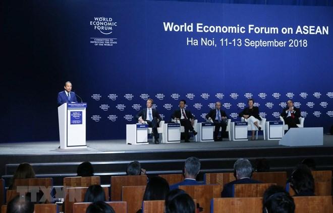 Phó Thủ tướng Thường trực Trương Hòa Bình phát biểu tại phiên bế mạc WEF ASEAN 2018. (Ảnh: Lâm Khánh/TTXVN).