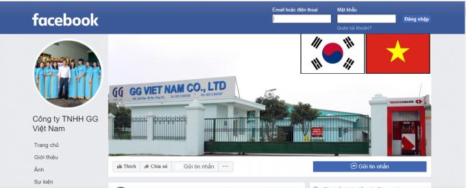 Facebook của Công ty TNHH GG Việt Nam.