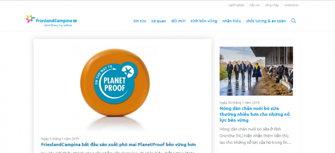 Website frieslandcampina.com.