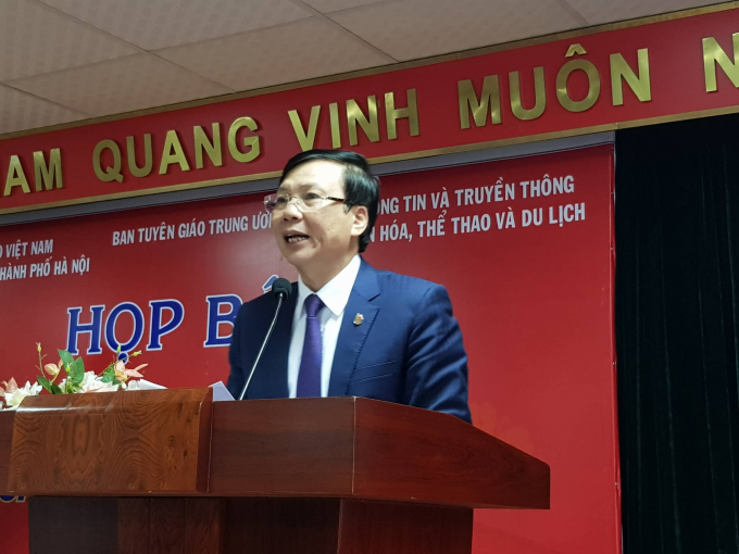 Ông Hồ Quang Lợi - Phó chủ tịch Thường trực Hội Nhà báo Việt Nam phát biểu tại buổi họp báo.