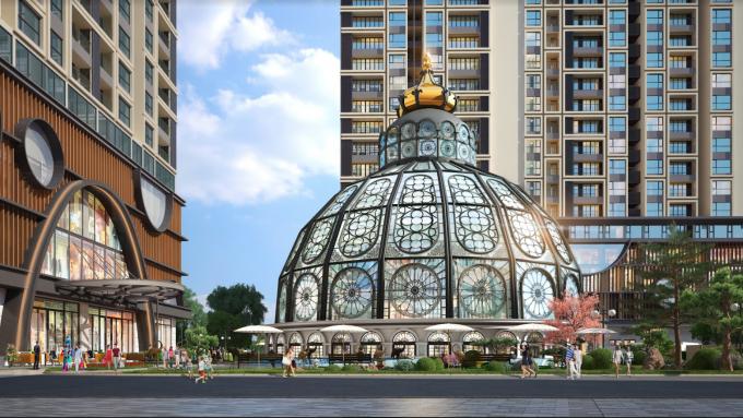 Lâu đài thủy kính tại lõi trung tâm cảnh quan của Hinode City do West Green Design thiết kế.