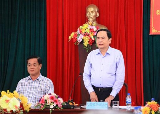 Bí thư Trung ương Đảng, Chủ tịch UBTƯ MTTQ Việt Nam Trần Thanh Mẫn phát biểu tại buổi làm việc với Ủy ban MTTQ Việt Nam tỉnh Phú Yên.