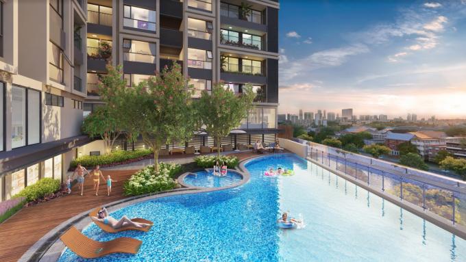 Mỗi tòa căn hộ tại Hinode City đều có bể bơi riêng.