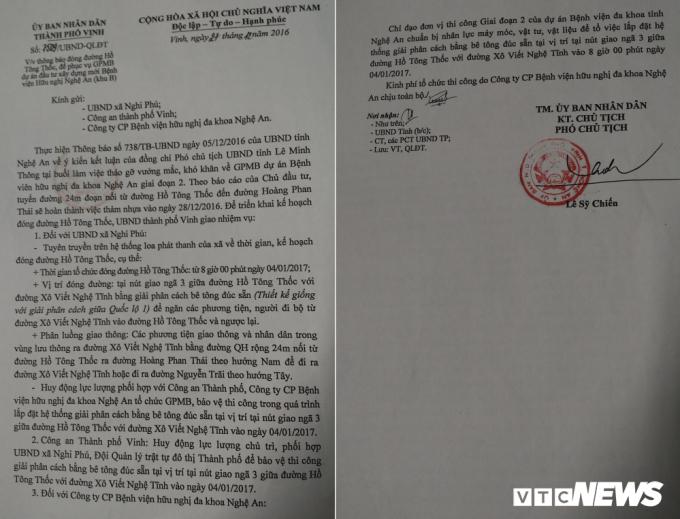 Công văn bịt đường Hồ Tông Thốc do Phó Chủ tịch UBND TP Vinh Lê Sỹ Chiến ký ngày 27/12/2016.
