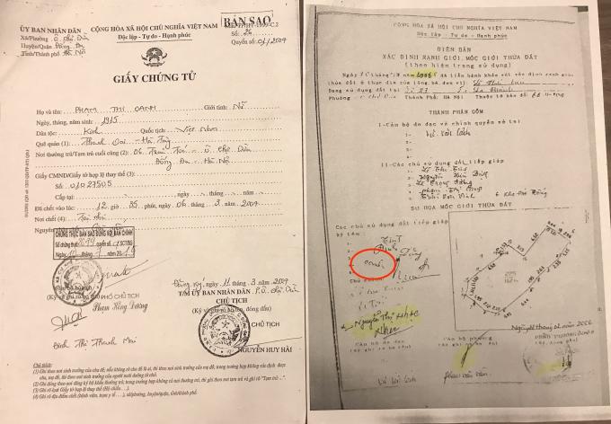 Bà Phạm Thị Oanh đã mất từ năm 2004 vẫn có chữ ký trong Biên bản xác định ranh giới, mốc giới thửa đất lập năm 2006 để làm cơ sở cho UBND quận Đống Đa cấp sổ đỏ tại số 27A Đê La Thành (Phần chữ ký bà Oanh được khoanh tròn màu đỏ - PV).