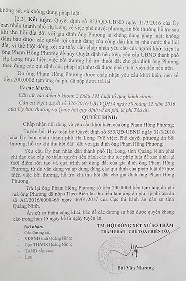TAND tỉnh Quảng Ninh đã tuyên một bản án công tâm, bảo vệ người dân yếu thế, khẳng định UBND TP Hạ Long ra các quyết định trái pháp luật.