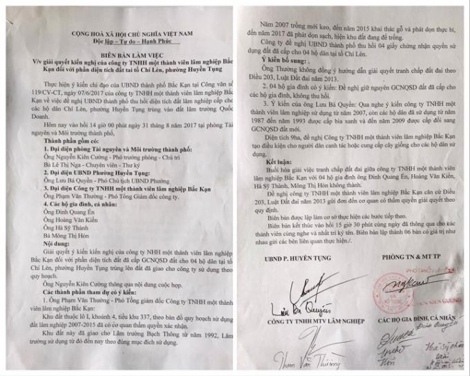 Từ năm 2017, người dân tổ Chí Lèn (phường Huyền Tụng, thành phố Bắc Kạn) và Công ty TNHH MTV Lâm nghiệp Bắc Kạn đã có các cuộc đối thoại nhưng đến nay vụ việc vẫn chưa được giải quyết.