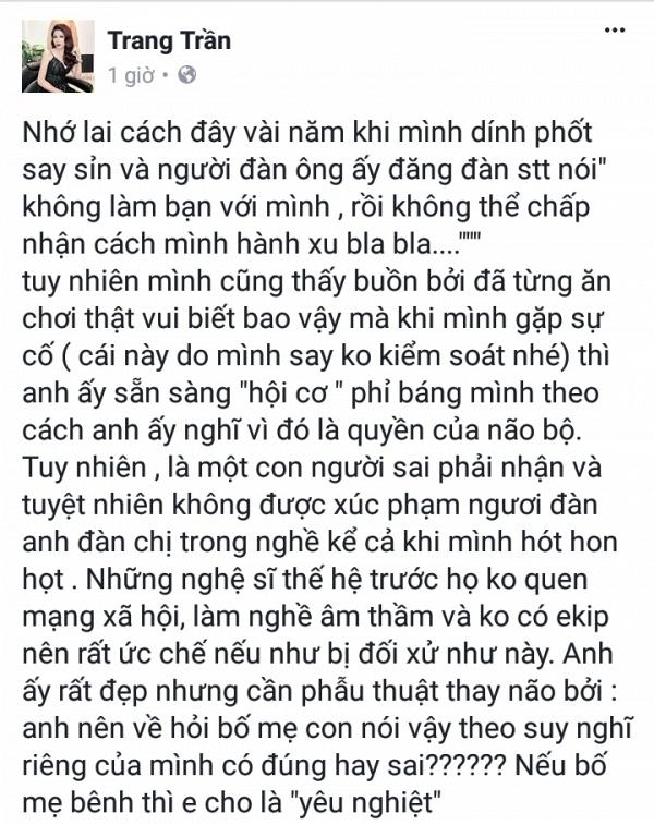 Cựu người mẫu, diễn viên Trang Trần cũng lên tiếng chỉ trích nữ ca sĩ chuyển giới. Ảnh: Saostar