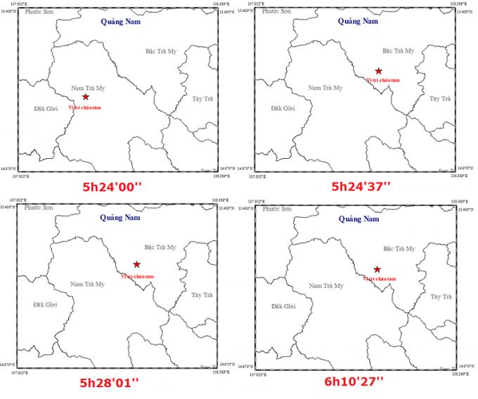 Vị trí và thời gian xảy ra các trận động đất. Ảnh: Viện Vật lý địa cầu