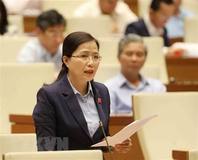 Đại biểu Quốc hội tỉnh Quảng Ninh Đỗ Thị Lan phát biểu trong một phiên họp. (Ảnh: Phương Hoa/TTXVN)