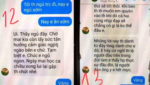 Những tin nhắn vượt quá mức tình thầy trò được lan truyền trên mạng xã hội nhiều ngày qua của thầy T. nhắn cho nữ sinh lớp 10.