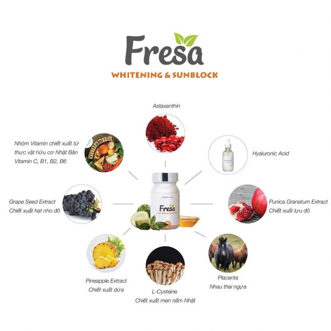 Tổ hợp các thành phần thiên nhiên có trong thực phẩmBVSK Fresa Whitening & Sunblock.