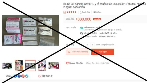 Kit test nhanh Covid-19 rao bán trên một sàn thương mại điện tử. Ảnh Dân Trí
