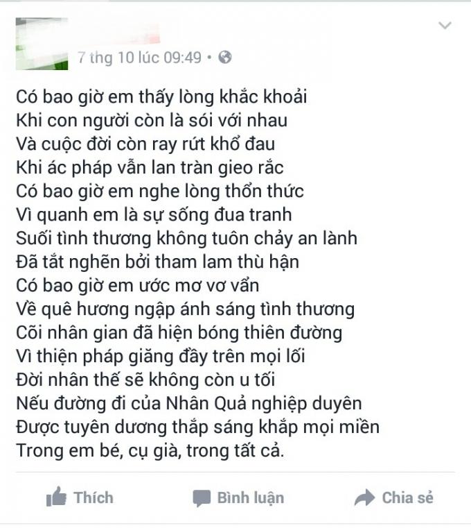 Một bài thơ được viết lên trang Facebook cá nhân cho rằng là của nạn nhân trong buổi sáng xảy ra sự việc.