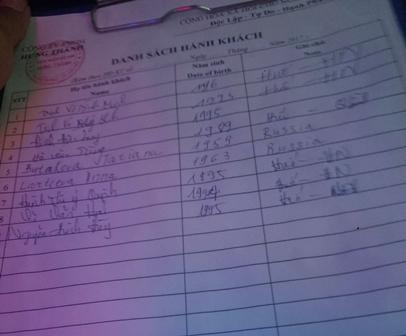Tờ danh sách được dùng để ghi thông tin hành khách nếu có cơ quan chức năng kiểm tra?