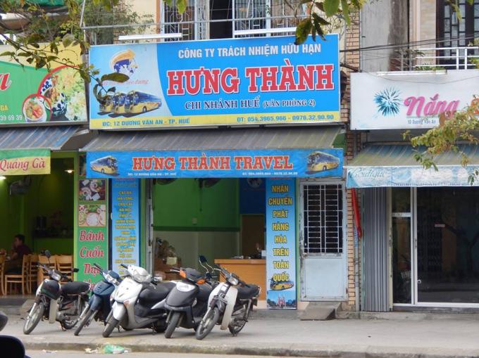Một cơ sở khác của Hưng Thành tại Huế, ngoài chức năng vận chuyển hành khách có thêm chức năng chuyển phát nhanh hàng hóa trên toàn quốc.