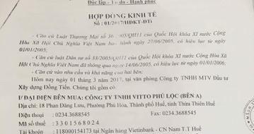 Hợp đồng kinh tế Công ty ở Phú Lộc cung cấp.